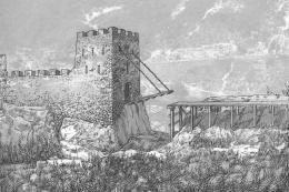 Графична възстановка на Северната централна порта на крепостта; Късноантична и Средновековна крепост Проват-Овеч; Средновековие - Исторически музей град Провадия