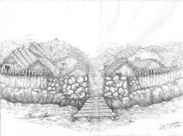 Примерна графична възстановка на входа към селището; Провадия-Солницата; Праистория - Исторически музей град Провадия