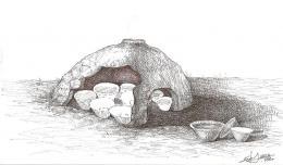 Примерна графична възстановка на съоръжение-пещ за изваряване на сол; Провадия-Солницата; Късен Неолит - Исторически музей град Провадия