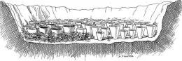 Примерна графична възстановка на открито съоръжение за изваряване на сол; Провадия-Солницата; Халколит - Исторически музей град Провадия